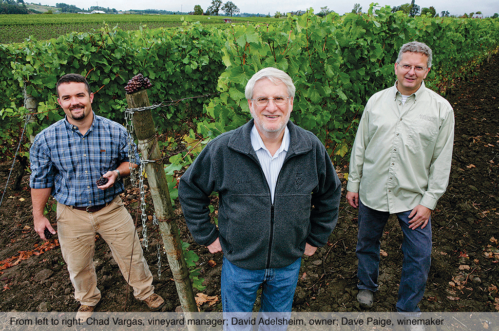 From left to right: Chad Vargas, vineyard manager; David Adelsheim, owner; Dave Paige, winemaker.