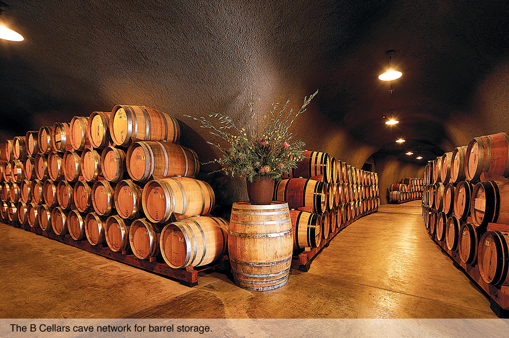 The cave network for barrel storage at B Cellars.