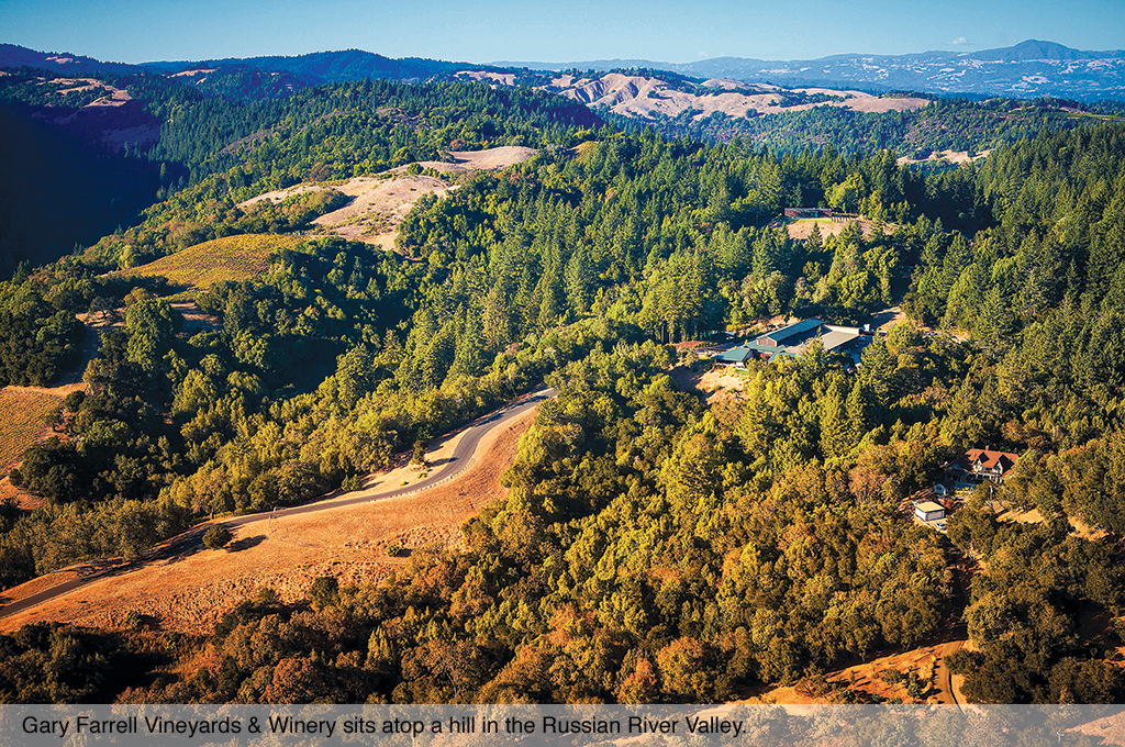 Gary Farrell Vineyards & Winery sits atop a hill in the Russian River Valley.
