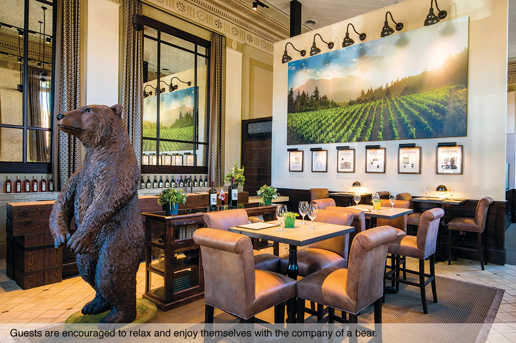 Guests are encouraged to relax and enjoy themselves with the company of a bear.