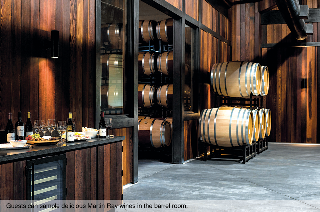 Guest can sample wines in the barrel Martin Ray room