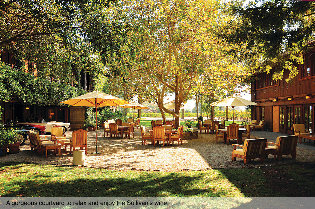 A gorgeous courtyard to relax and enjoy the Sullivan's wine.
