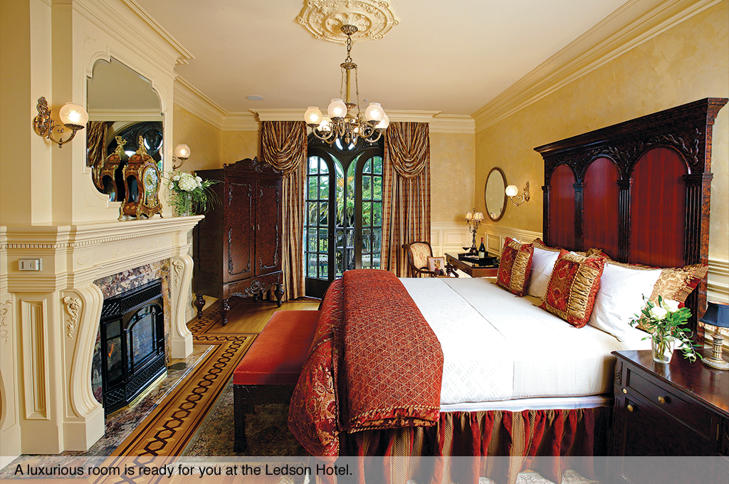 A luxurious room is ready for you at the Ledson Hotel.