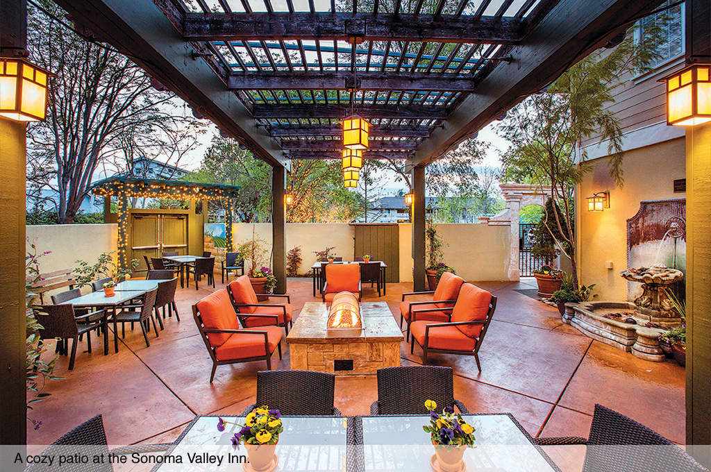 A cozy patio at the Sonoma Valley Inn.