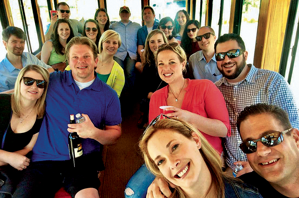 A group of travelers aboard the Livermore Wine Trolley