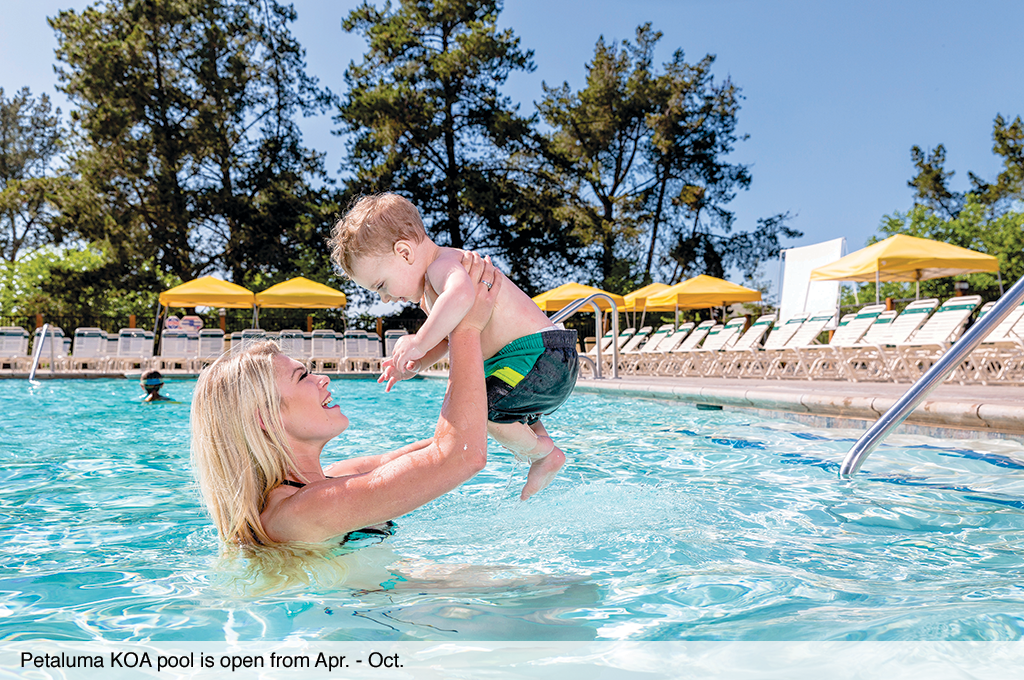 Petaluma KOA pool is open from Apr. - Oct.