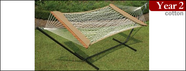 Castaway Hammocks Cotton Rope Hammock and Brown Stand