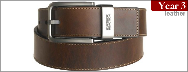 Kenneth Cole REACTION Men's Brown Leather Reversible Belt